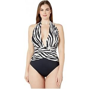 Plus Size Abstract Zebra Wrap Front Plunge One-Piece Black/Cream
