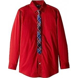 Stretch Solid Shirt w/ Tie (Big Kids) Elaborate Red
