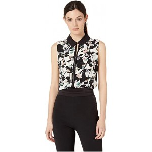 Printed Collared Woven Top Ivory Multi