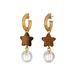 Star and Ball Drop Hoop Earrings