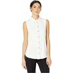 Collared Scallop Detail Sleeveless Woven Ivory