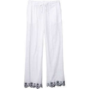 Rosemary Embroidery Wide Leg Pants Cover-Up White
