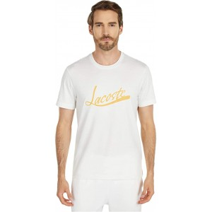 Lacoste Short Sleeve Solid Tee with Lacoste Script Print on Front Cake Flour White