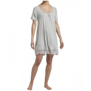 Plus Size Solid Short Sleeve Sleep Gown