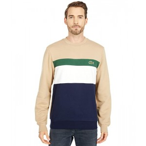 Long Sleeve Color-Blocked Striped Crew Sweatshirt