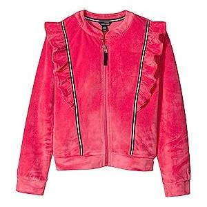 Ruffle Velour Track Jacket (Big Kids) Paradise Pink