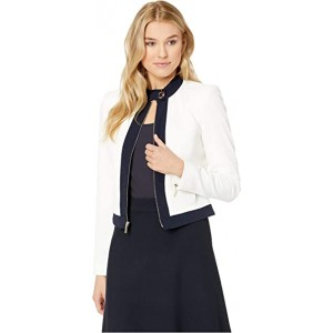 Piped Textured Jacket Ivory/Midnight