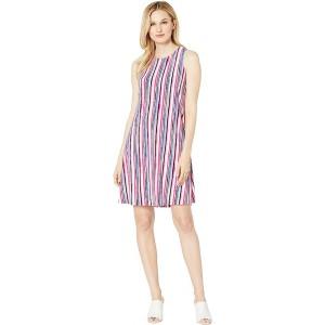 Printed Ity Sleeveless Crew Neck Trapeze Dress Pink/Blue Multi