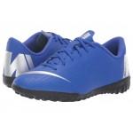 VaporX 12 Academy TF Soccer (Toddler/Little Kid/Big Kid) Racer Blue/Metallic Silver/Black/Volt