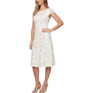 Tea Length A-Line Rosette Dress