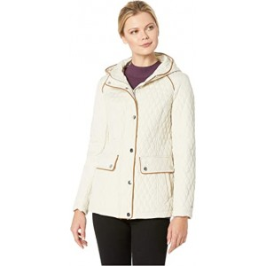 Hooded Quilt Double Pocket Jacket Stone