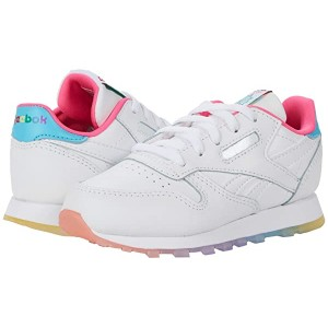 Classic Leather (Infant/Toddler) White/Neon Blue/Solar Yellow