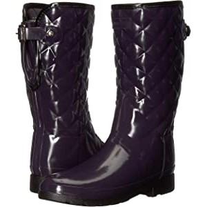 Refined Gloss Quilt Short Rain Boots Aubergine
