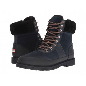 Insulated Leather Commando Boots Navy/Black