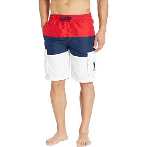 Tricolor Block Cargo Shorts Engine Red
