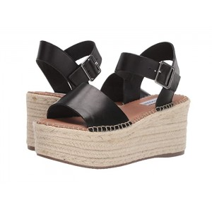 Cabo Espadrille Wedge Black Leather