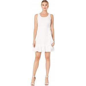 Cotton Eyelet Scoop Neck Ruffle Skirt Dress White