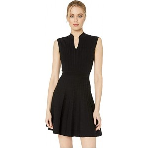 Sharnn Stitch Detail Skater Dress Black