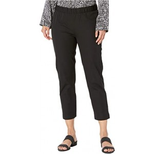 Petite Mid-Rise Ankle Pants with Slits Black