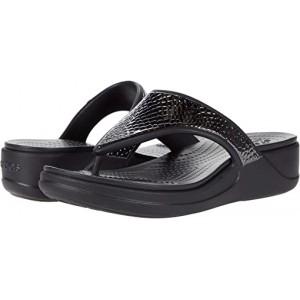 Crocs Monterey Metallic Wedge Flip Dark Charcoal/Black
