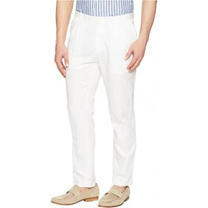 Linen Tapered Carrot Fit Pleated Pants Standard White