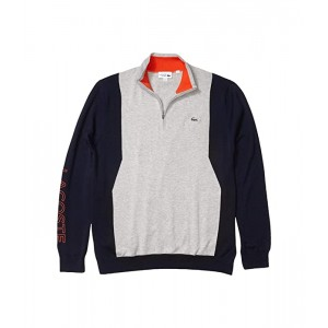 Lacoste Long Sleeve 1u002F4 Zip Sweater Silver Chine/Navy Blue/Gladiolus