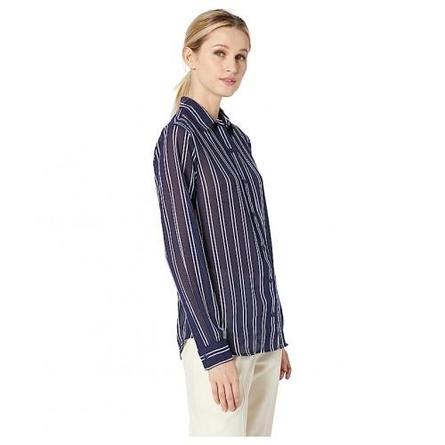 마이클 코어스 Mega Railroad Stripe Shirt True Navy/White