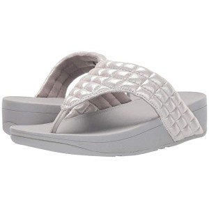 FitFlop Lulu Padded Shimmy Suede Toe Thong Silver