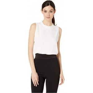 Ruffle Neck Woven Top Ivory