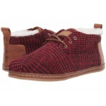 Bota Red Abstract Plaid/Faux Shearling