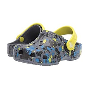 Classic Printed Clog (Toddler/Little Kid/Big Kid) Charcoal/Citrus