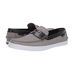 Nantucket Loafer Gray Canvas/Blue Leather