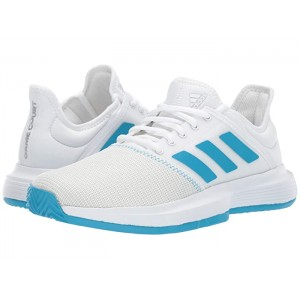 GameCourt Footwear White/Shock Cyan/Matte Silver