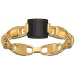 Precious Metal-Plated Sterling Silver Mercer Link Onyx Center Ring