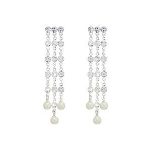 Glass Pearl Chandelier Drop Earrings