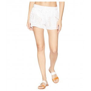 Eyelet Patchwork Cover-Up Shorts White