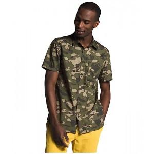 The North Face Short Sleeve Baytrail Pattern Shirt Burnt Olive Green Ponderosa Print