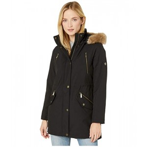 Snap Front Polyfill with Faux Fur Trim Hood M524503TZ