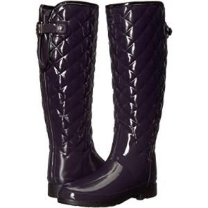Refined Gloss Quilt Tall Rain Boots Aubergine
