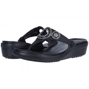 Sanrah Diamante Wedge Flip Gunmetal/Black