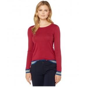 Long Sleeve Crew Neck Semi Fancy Cotton Silk Jersey Sweater Bordeaux
