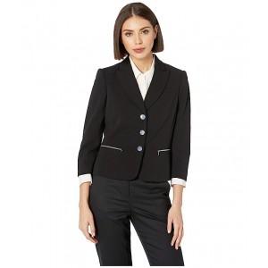 Three-Button Zip Pocket Jacket Black