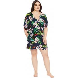 Plus Size Watercolor Tropical Printed Tunic Dress Multi