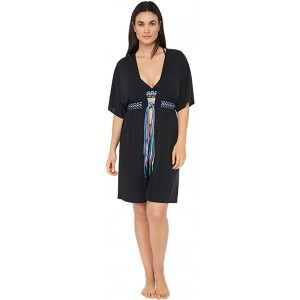 Macrame Solids Belted Kimono Dress Swimsuit Cover-Up Black Moon