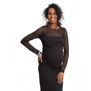 Maternity Shadow Stripe Long Sleeve Top