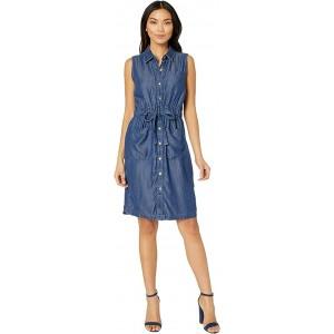 Sleeveless Button Front Elastic Waist Denim Dress