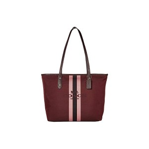 COACH Horse and Carriage Jacquard City Tote Oxblood/Gold