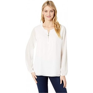 Long Sleeve Zip Front Woven Ivory