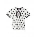 Dolce & Gabbana Kids Manica Corta T-Shirt (Big Kids) Stelle Nere Fdo Panna