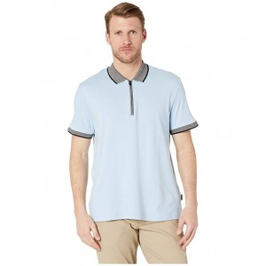 Short Sleeve Marbled Collar Interlock Zip Polo Dusty Blue